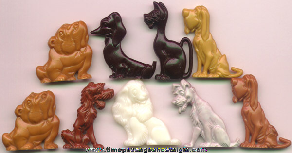 (9) 1955 Walt Disney Lady & The Tramp Advertising Premium Character Figures