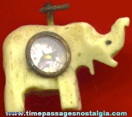 Early Scarce Bone Or Ivory Elephant Charm With Compass