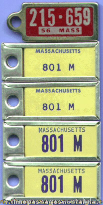 (5) Old DAV License Plate Key Chain Tags
