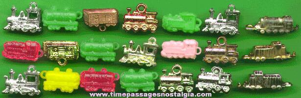 (21) Old Train / Railroad Car Gum Ball Machine Prize Charms