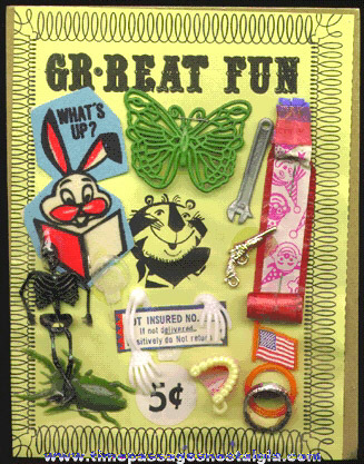 1960's Gum Ball Machine Display Header Card With Prizes