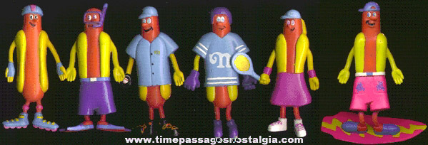(6) Different Nathan's Hot Dog Advertising Character Sports Figures