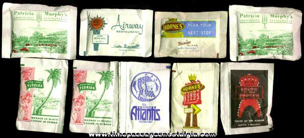 (9) Old Advertising Sugar Packets