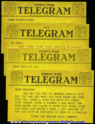 (4) Old Arcade Joke Telegram Post Cards