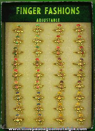 Full Display Box Of (36) Troll / Wishnik Metal Toy Rings