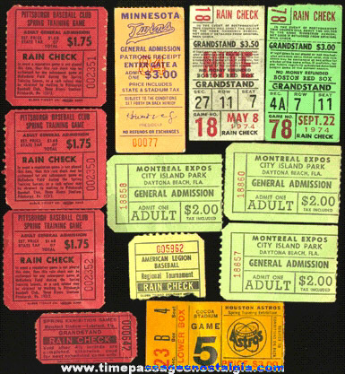 (12) Old Baseball Ticket Stubs