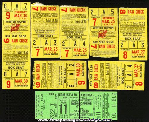 (9) Old Baseball Ticket / Stubs