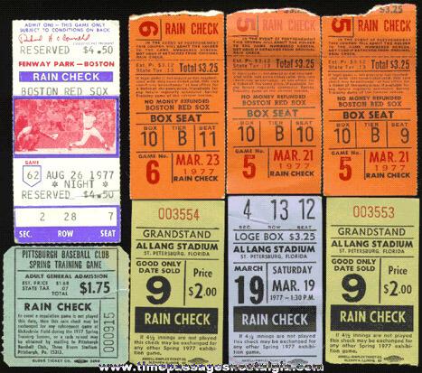 (8) Old Baseball Ticket Stubs