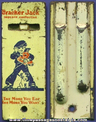 1930's Lithographed Tin Cracker Jack Advertising Premium Whistle