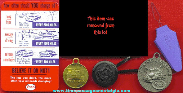 (5) Old ESSO and EXXON Gasoline Advertising Items