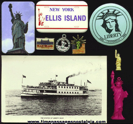 (9) Small Statue Of Liberty / Ellis Island Items