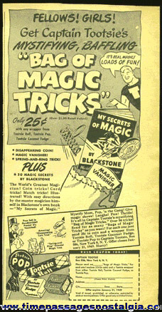 "1948 Tootsie Roll Candy Advertisement For A ""BAG OF MAGIC TRICKS"" Premium"