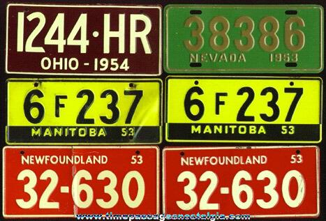(6) 1950's Cereal Premium / Prize Tin License Plates