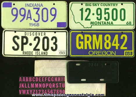 (5) 1960's Cereal Premium / Prize License Plates