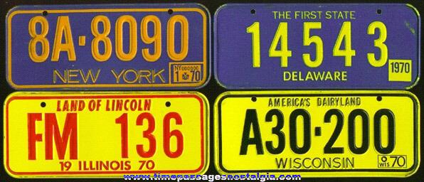 (4) 1970 Cereal Premium / Prize Tin License Plates