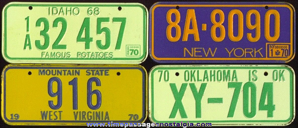 (4) 1970 Cereal Premium / Prize Tin License Plates