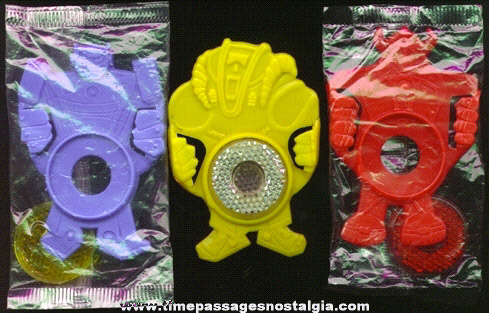(3) Robot Bicycle Reflector Cereal Premiums / Prizes