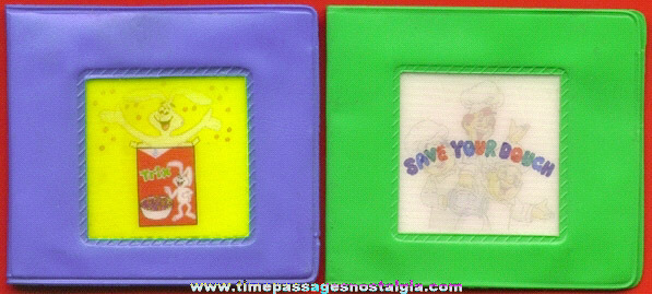 (2) Different General Mills Cereal Premium / Prize Flicker Picture Wallets