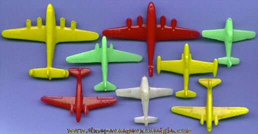 (8) Old Small Hard Plastic Toy Airplanes
