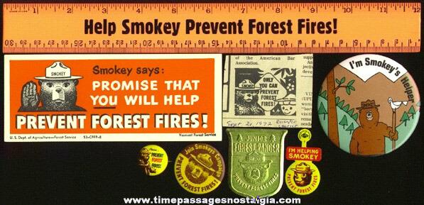 (8) SMOKEY THE BEAR Items