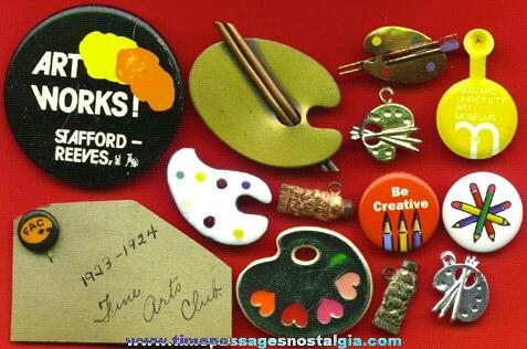 (13) Small Art / Artist Pins & Charms