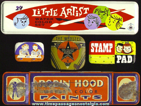 (5) Small Old Art, Paint & Ink Advertising Tins