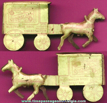 RARE 1910's Large Version Cracker Jack Premium / Prize Tin Advertising Horse & Wagon