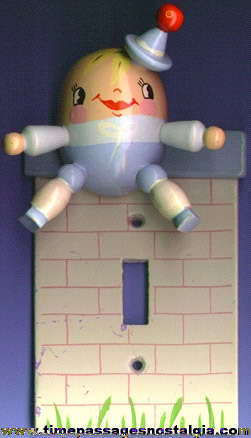 Painted Wooden Humpty Dumpty Light Switch Cover