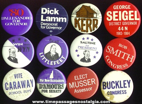 (12) Mixed Old Political Buttons