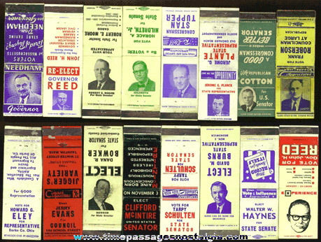 (16) Mixed Old Political Match Book Covers