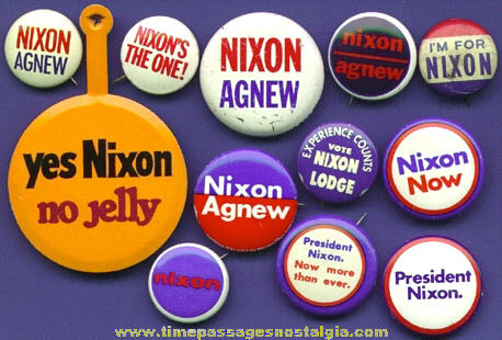(12) Different Old RICHARD NIXON Political Pin Back Buttons