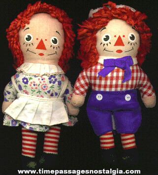 Pair Of KNICKERBOCKER Raggedy Ann & Andy Dolls