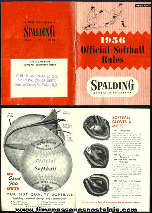 1956 OFFICIAL SOFT BALL RULES Advertising Booklet