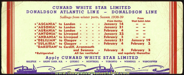 Unused 1938 - 1939 CUNARD Ship Schedule / Ink Blotter