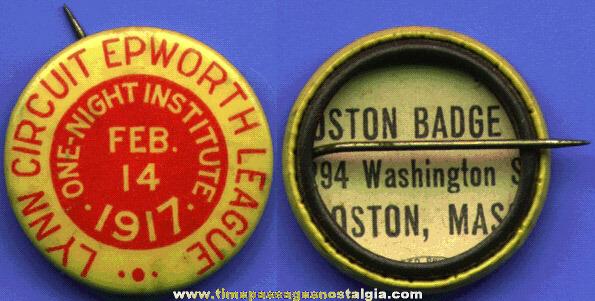 1917 Lynn Massachusetts Baseball (?) Pin Back Button