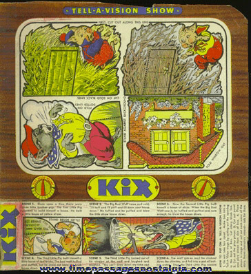 Old Colorful KIX Cereal TELL - A - VISION SHOW Box Back & Side Panel
