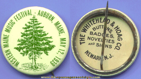 1939 Music Festival Celluloid Pin Back Button