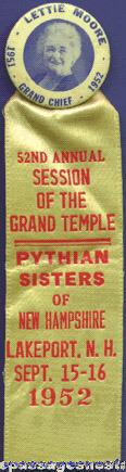 1952 PYTHIAN SISTERS Celluloid Badge / Ribbon