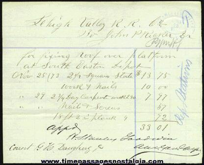 (3) 1870's LEHIGH VALLEY RAILROAD COMPANY Paper Items