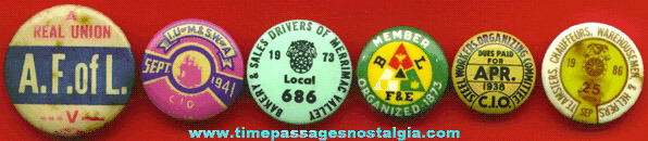 (6) Old Union Pin Back Buttons