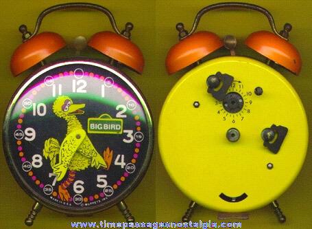 Large Old BIG BIRD Sesame Street / Muppets Wind Up Alarm Clock