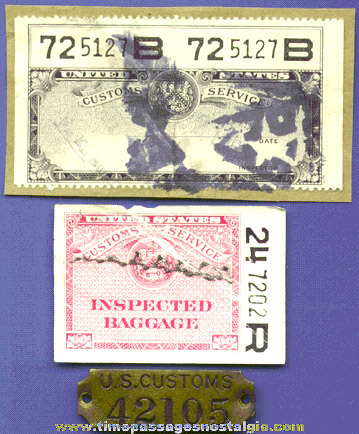 (3) Different Small Old United States Customs Items