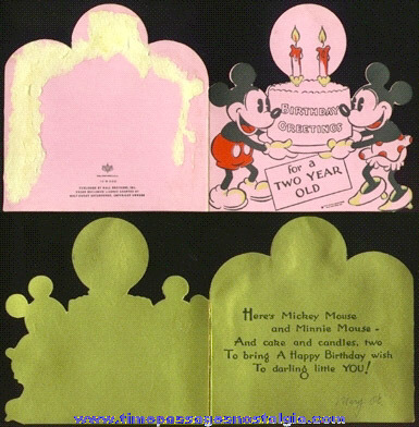 SCARCE 1930's Walt Disney Enterprise Hall Brothers (Hallmark) Birthday Card