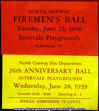 (2) Different 1930s North Conway, New Hampshire Firemen's Ball Tickets