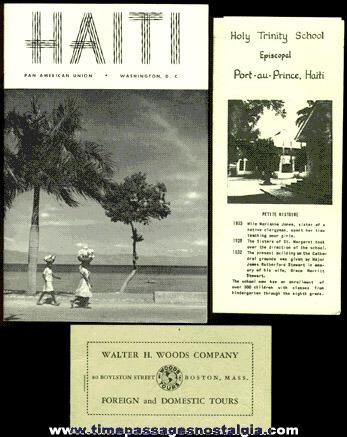 (3) 1953 - 1954 Haiti Tourist Paper Items