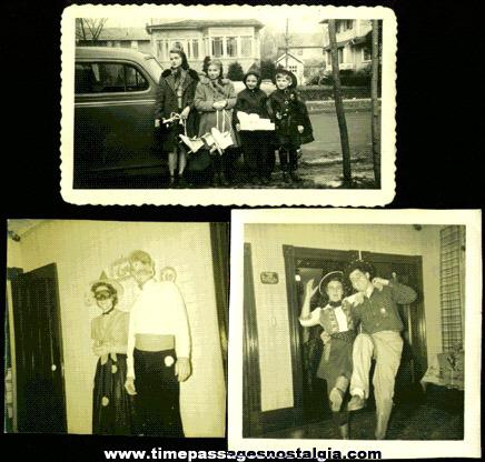 (3) 1940's HALLOWEEN Costume Photographs