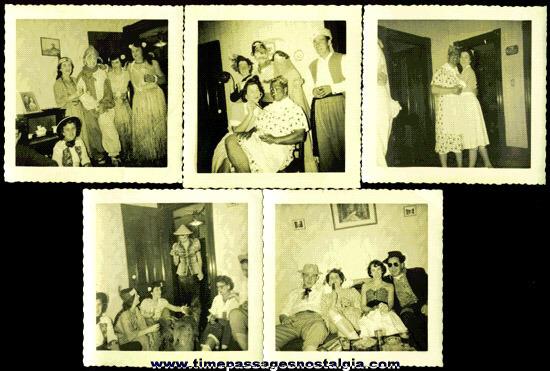 (5) 1940's HALLOWEEN Costume Photographs