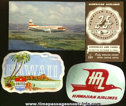 (4) 1950's Hawaii Tourist Air Travel Paper Items