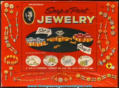1956 Boxed TRANSOGRAM Snap-A-Part Jewelry Kit