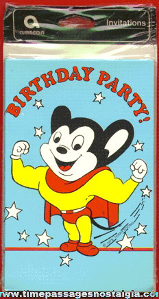 (8) Mighty Mouse Party Invitations With Envelopes